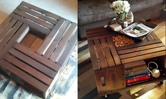 Mesa de centro feita com caixotes de feira para a sala da sua casa. Dica da Imobiliária Razão Curitiba